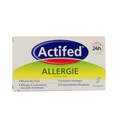 Actifed allergie cetirizine 10mg 7 Comprimés