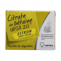 Citrate De Betaine Citron Upsa 2G Sans Sucre 20 Comprimés Effervescants