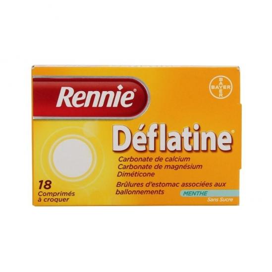 Rennie deflatine sans sucre 18 comprimés à croquer au sorbitol