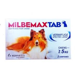 Milbemax tab vermifuge spectre large chien 5 kg et plus 2 comprimés