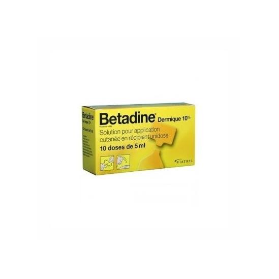 Betadine dermique 10 % solution pour application cutanée en 10 récipients unidose