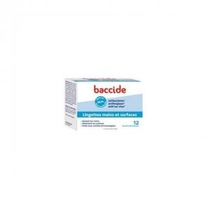 Baccide lingettes hydroalcoolique - 12 lingettes mains et surfaces