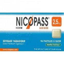 Nicopass menthe fraicheur 2.5mg sans sucre 96 pastilles