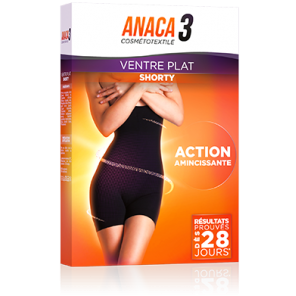 ANACA 3 SHORTY VENTRE PLAT NOIR S/M